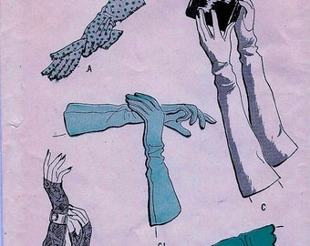 Sale:) Vintage Butterick Pattern 4260 *  Set of Gloves - Day and Evening Wear  Sewing Pattern  - UNCUT * ORIGINAL * Size 7
