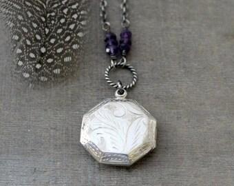 VACATION SALE Silver Locket Necklace, Amethyst Locket, February Birthstone Locket, Sterling Silver Locket Pendant, Oxidize Silver Jewelry, P