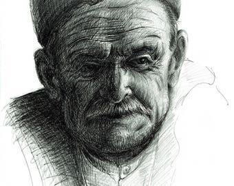 Old Greek Fisherman - Original Pen & Ink Drawing by Rebecca Rees