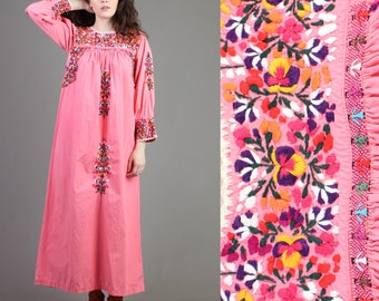 vintage 70s PINK + HEAVILY EMBROIDERED mexican oaxacan maxi dress xs s / people floral hippie festival maxi dress 1970s