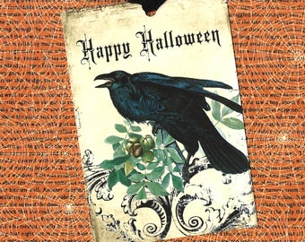 Halloween, Raven Tags, Oct 31, Party Favors, Happy Halloween, Gift Tags, Crow Tags