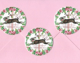 Stickers, Rabbit Stickers, Seals, Rabbit with Rose, Party Favors, Bunny Lover, Bunny Stickers