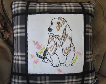 One-of-a-kind Basset Hound Accent Pillow made with a Vintage Embroidered Linen