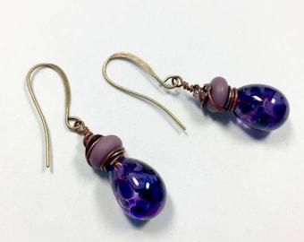 Deep Purple Artisan Glass Earrings, Dangle Earrings, Handmade Glass Jewelry, Art Bead Earrings