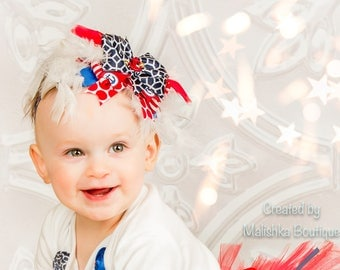 Large Over The Top Nautical Bow Headband, Fourth 4th of July Red White Blue Feathers, Baby Girl, Toddler Anchor Gold Baby Shower Gift Sailor