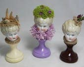 Glamour Girl Figurine with Antique German Bisque Doll Head and Nature Accessories - Fun Display Item - Choose One