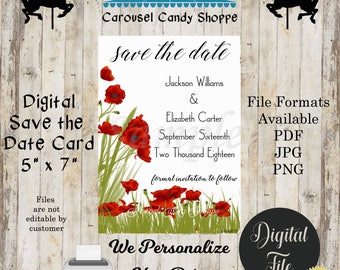 Printable Red Poppys Save The Date Wedding Card, DIY, We Personalize, You Print