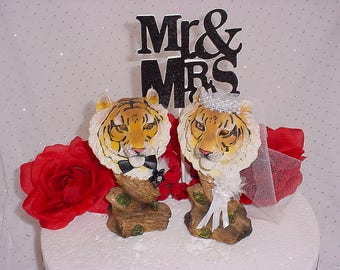Tiger Wedding Cake Topper-Hunter Groom's Caketopper-  Woodsy Woodland Animals Topper- Rustic Decorations, Bride and Groom Tiger Cat Lover-B1