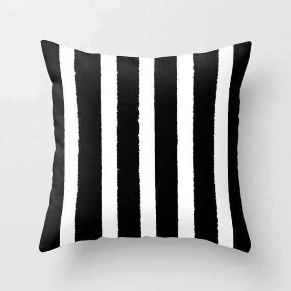 Black and White Striped Throw Pillow - Black Pillow - Cushion - Pillow - Black Striped Pillow - Black and White Cushion 16 18 20 24 inch