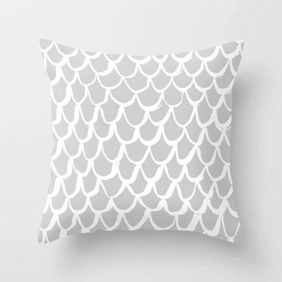 OUTDOOR Throw Pillow . Mermaid Outdoor Pillow . Silver patio cushion . 16 18 20 inch . Gray Mermaid Outside Pillow . Grey Rectangle Pillow