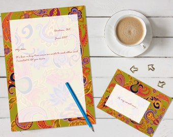Paisley of '71 'print your own' letter writing paper set - green and orange