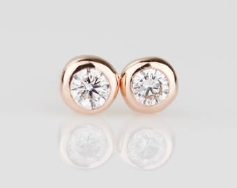 Organic Pebble Natural White Diamond Stud Earrings - 14k Rose Gold Stud Earrings - Solid Gold Pair with Heavy Bezels