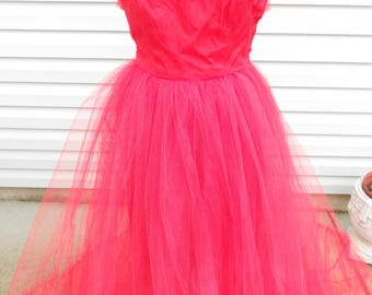 1950s Ruby Red Tulle Prom Dress