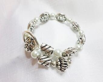 Beaded Silver Memory Wire Bracelet