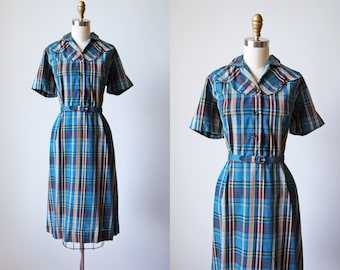 1950s Western Dress - Vintage 50s Navy Blue Plaid Cotton Wiggle Dress L XL - Lynda Lou Dress