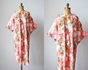 1950s Kimono - Vintage 50s Japanese Rayon PINK Novelty Print Floral Lounging Robe OSFM - Pagoda River Jacket