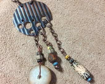 Corugated Copper and Earth tones Boho pendant necklace, copper chain, Czech beads, nut & wood beads