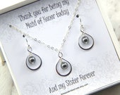 Maid Of Honor Necklace and Earrings Set, Choose Your Color Maid of Honor Gift Boxed Necklace,Sister Gift, infinity necklace, pearl necklace.