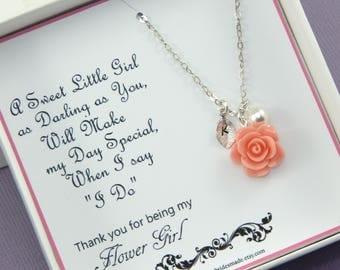 Flower Girl Necklace,Flower Girl Gift,Personalized Necklace,My Flower Girl Gift, Junior Bridesmaids Gift, Flower Girl Thank You Gift