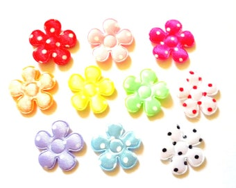 100 pcs Cute dot Satin Flower  Padded Appliques mix colors size 20 mm