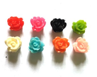 30 pcs Cute tiny rose flower cabochons flatback decoration size 9 mm mix colors