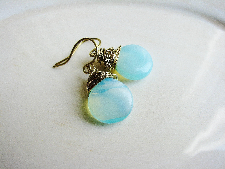 Blue Opalite Earrings, Wire Wrapped Earrings, Opalite Briolette ...