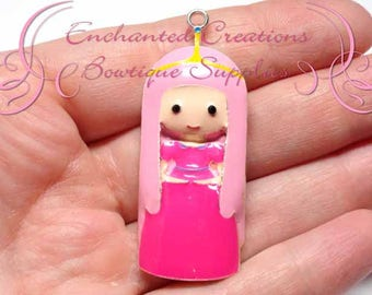"2"" Bubblegum Princess Inspired Charm, Little Mermaid Inspired, Chunky Pendant, Keychain, Bookmark, Zipper Pull, Chunky Jewelry"