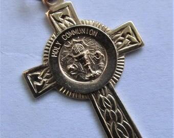 Holy Communion 14 Karat Gold Religious Medal Religious Cross 14K Pendant   SS54