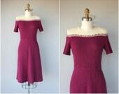 Vintage 1940s Knit Dress • 1940s Dress • 1940s Day Dress • 40s Wool Dress • 40s Dress • 1940s Wool Bouclè Dress - (xs/small)