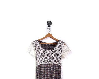 BTS SALE Vintage 90s Grunge Floral Checkered Babydoll Midi Length Plaid Summer Dress women s m vestiesteam preppy short sleeve indie boho hi