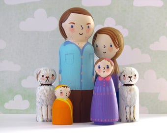 Personalize Peg Doll Family Set - Made to Order / Unique Wooden Family Portrait Painted Peg Dolls Wooden Toys
