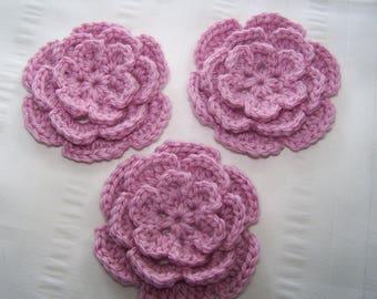 Crochet motif flower 3 inch pink embellishment applique set of 3 flowers