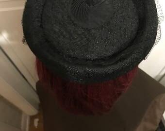Women's Black Vintage Hat with Veil