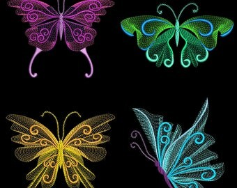 CURLY FLUTTERS (4inch) - 10 Machine Embroidery Designs Instant Download 4x4 hoop (AzEB)