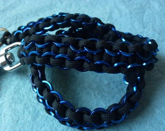 Paracord wallet chain w/ Blue squared off chainmail rings added