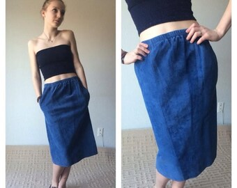 SUMMER SALE 80s Blue Suede Midi Skirt Blue Leather Skirt Midi Skirt With Pockets Suede Skirt Midi Pencil Skirt High Rise Leather Skirt Tight
