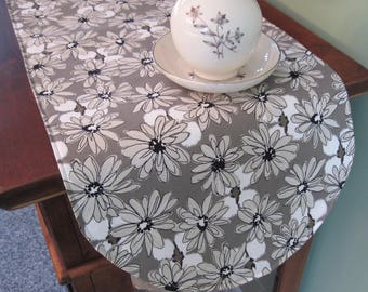 """Taupe Daisy Table Runner  36"""" Reversible Neutral Beige Table Runner Black and Tan Table Runner Contempo Taupe Table Runner Beige Table Decor"""