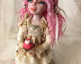 Art doll ooak FUSCHIA BIRD shabby chic with bling and vintage lace