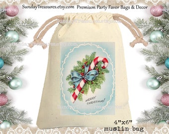Vintage Candy Cane Muslin Gift Bag  / 4x6 / Shabby Red Blue / CHRISTMAS Gift Card Holder / Hot Cocoa Packet Holder / QTY DISCOUNT