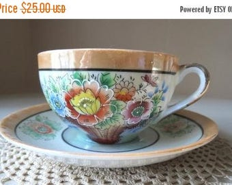 On SALE Vintage 1930s Takito Company Japanese Porcelain Lusterware Teacup and Saucer Set