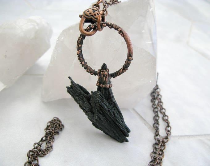Black Kyanite copper electroformed necklace 24 inch copper chain adjustable