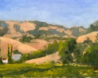 OLD BLUE HOUSE, Fairfield - 9 x 16 - Suisun Valley - California Landscape - Original - Plein Air Painting - Home Decor - Wall Art - Art