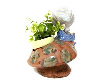 Vintage Pottery Mushroom Figural Planter,  Big Hat Girl's Nature Chair