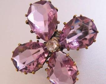 XMAS in JULY SALE Edwardian Antique Amethyst Glass Flower Brooch Pin 1900's