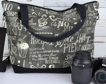 Camera Bag for women,  Cotton Canvas in Black and white / dslr camera bags  by Darby Mack & made in the USA, waterproof base