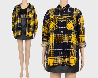 SALE Vintage 90s Plaid Flannel Shirt | Grunge Oversize Boyfriend Shirt | Collared Button Up Long Sleeve Shirt | Yellow Black | S M UNISEX
