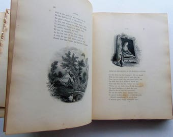 1800's Antique Pages Lovely Engravings and Poetry - Worn Book