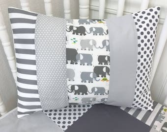 Elephant Pillow Cover, Baby Bedding, Nursery Decor, Cushion Cover, Throw Pillows, Decorative Pillows, 12 x 16, Elephants, Gray, Grey, White