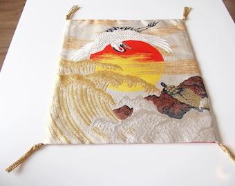 Flying Cranes Design Fukusa Ceremonial Cloth From Japan
