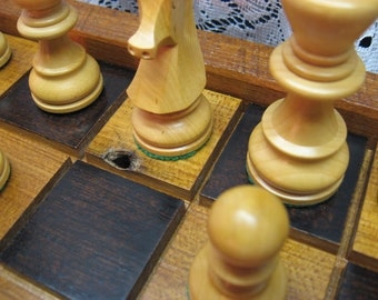 Barn Beam Chess Set in Wormy Chestnut wood reclaimed from 1830's Ohio Barn Beams
